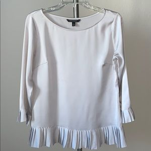 Light gray blouse with pleating detail